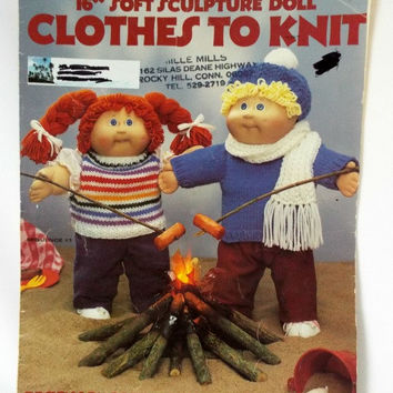 Vintage Knitting Pattern Soft Sculpture Doll Clothes to Knit 16 Inch Dolls Leisure Arts Destash