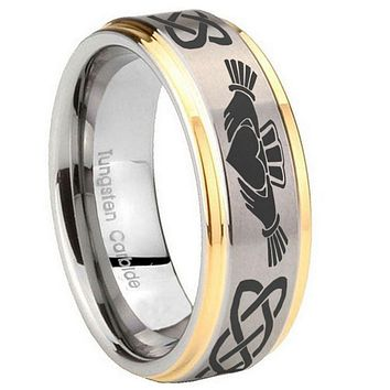 10MM Step Edges Irish Claddagh 14K Gold IP Tungsten Two Tone Men's Ring