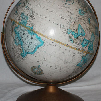 "Vintage Replogle Globe 16"" Rotating Metal Desk Top Stand World Classic Series"