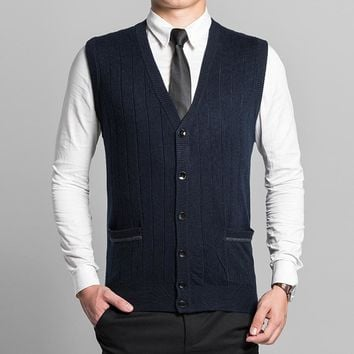 New Men's Buttons Down for Autumn Winter Casual Wool Sweater Cardigan Sleeveless Jacket Vest V Neck Warm Basic Knit QH-606