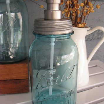 Mason Jar Quart Soap Dispenser with Stainless Steel Pump - Blue