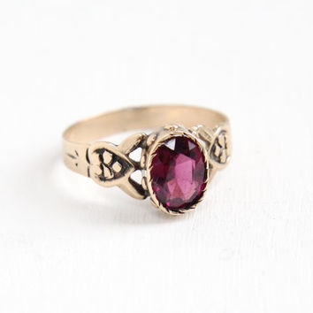 Antique Victorian 8k Rose Gold Garnet Doublet Ring - Size 6 1/2 Late 1800s Swirled Filigree Fine Purple Gemstone Jewelry