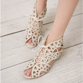 hollow out flat sandals