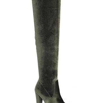 Olive Velvet Over the Knee Boots