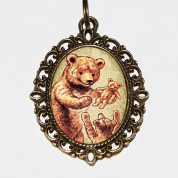 Bear Family Necklace, Brother, Sister, Parent, Sibling Jewelry, Family Of 3, Oval Pendant