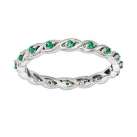 Stacks & Stones Sterling Silver Lab-Created Emerald Stack Ring (Green)