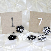 Custom Burlap and Galvanized Tin Table Numbers With Paper Flower Pearl Center Metal Stand Rustic, Shabby Chic, Vintage Wedding Bridal Shower