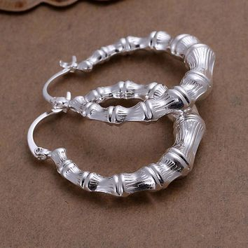 Fashion Elegant Solid Silver Plated Hoop Retro Twist Ropes Earring