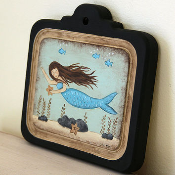 Beach Folk Art Primitive Painting on Wood Plaque -READY TO SHIP- Nautical theme, Mermaid, Starfish, Seaweed, Wall Art, Sea Green, Blue, Fish