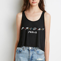 """Friends TV Show F.R.I.E.N.D.S """"Friday Feels"""" Boxy, Cropped Tank Top"""