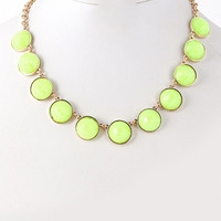 Neon Circle Gems Statement Necklace - Yellow, Blue, or Fuchsia