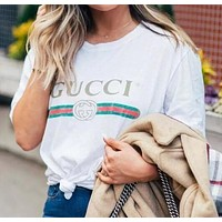 Gucci Fashion Hot Letters Print Short Sleeve T-Sshirt Top Tee Loose Blouse