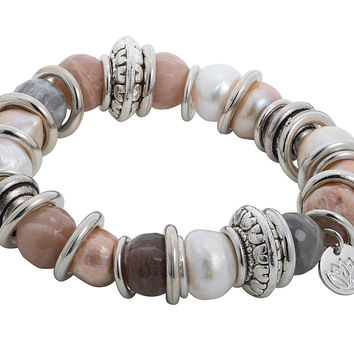 Stretchy Bracelet with Rose Gold Baroque Pearl and Stainless Steel Rings