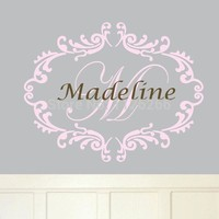 Custom-made Any Name Personalised Monogram Wall Decal Removable Damask Vinyl Sticker for Baby Room Nursery Decor