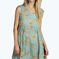 Penny Pineapple Print Woven Smock Dress
