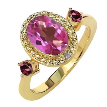 1.69 Ct Pink Mystic Topaz & Rhodolite Garnet 18K Yellow Gold Plated Silver Ring