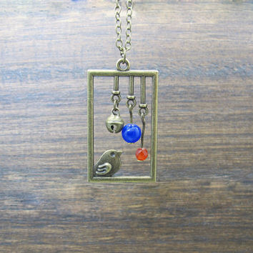Birdcage necklace,bird cage,small bell,red and blue agate beads, bronze, fairy tale jewelry,Unique gift
