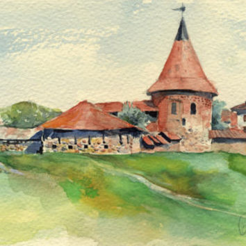"Original watercolor landscape painting ""Kaunas Castle"" paper"