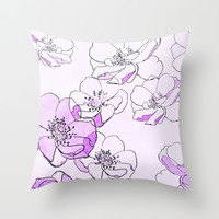 Painted Wild Roses Purple Throw Pillow by ALLY COXON