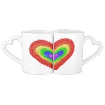 Rainbow heart bride and groom mugs couples' coffee mug set