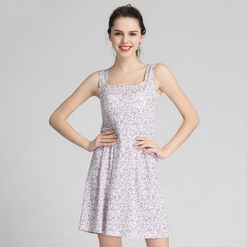 Ejqyhqr Summer Built In Bra Padded Wire Free Dresses Women Casual Nightdress Stretch Floral Nightgown Comfortable Home Sundress
