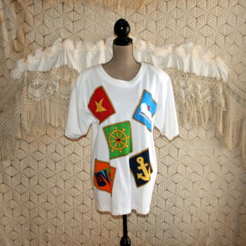 80s T Shirt Top Novelty Tee Nautical Sailor Sailing White Applique Vacation Resort Shoulder Pads 1980s Oversized Top Large Womens Clothing