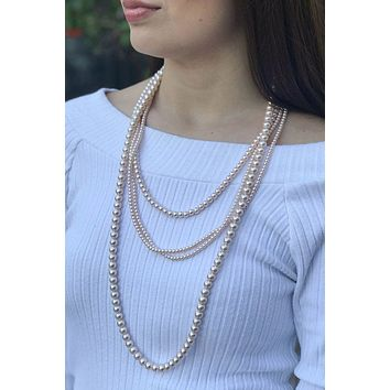 Before All Else Multi Strand Layered Long Nude Pearl Necklace
