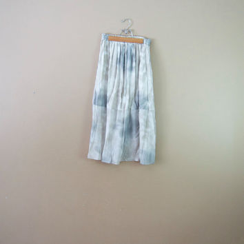 90s Watercolor Skirt - 90s Long Skirt Boho Rayon Skirt Tie Dye Midi Skirt Grey Skirt Sheer Skirt Soft Grunge Skirt Elastic Waist Skirt