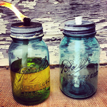 Mason Jar Citronella Candle Antique Blue Mason Jar Patio Citronella Torch Mason Jar Lawn Decor Mason Jar Tiki Torch