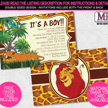 Lion King Baby Shower Invitations, Lion King Invitation, Lion King Invites, Baby Shower Invitations, Baby Shower Invitation, Invitations