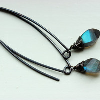 4 ctw. Faceted Labradorite Twist Dangle Earrings on Sterling Silver