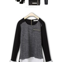 2014 New Spring Autumn Fashion Women Knitted Sweater Pullovers Knitwear Knit & Chiffon Patchwork Zipper Tops = 1958280580