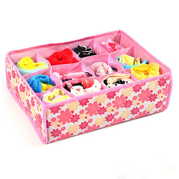 12 Cells Storage Boxes For Ties Socks Shorts Bra Underwear Divider Drawer Lidded Closet Home Organizer ropa interior organizador