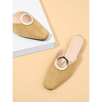 Ring Front Square Toe Flats