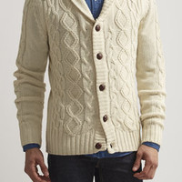 Cable Shawl Collar Cardigan Sweater