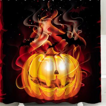 3D Fire Pumpkin Printed Waterproof Halloween Shower Curtain