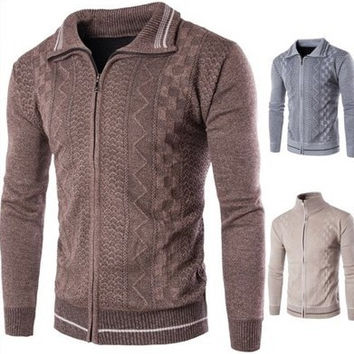 Mens Casual Comfortable Zip-Up Sweater