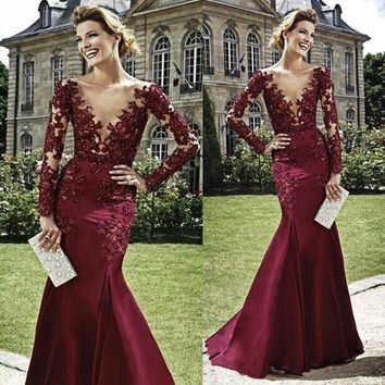 Summer Style Bugundy V Neck Top Beaded Lace Long Sleeve Prom Dresses 2015 Evening Mermaid Prom Dress vestidos para festa