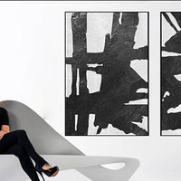 Extra Large wall art Abstract painting Original Acrylic Painting black and white wall art , Modern large living room wall decor