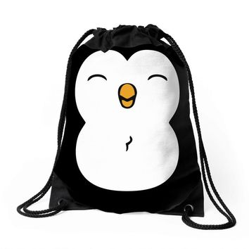 cute penguin Drawstring Bags