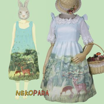 Dear Forest Cute Summer Suspender Lolita JSK Dress Mint Green Girl's Kawaii Sleeveless Bow One Piece