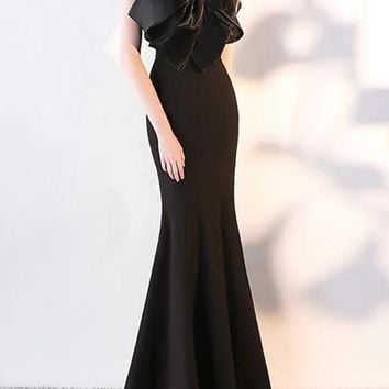 Black Draped Bow Off Shoulder Backless For Wedding Gowns Banquet Elegant Maxi Dress