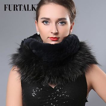 Cool women's winter infinity scarf real fox+rex rabbit fur ring fur talk design fur snood