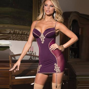 Cute On Sale Hot Deal Pale Violet V-neck Backless Sexy Ladies Dress Exotic Lingerie [6596476355]