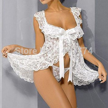 CREYHY3 White Lace Baby Doll Sexy Lingerie Plus Size 4XL Bridal Nightgown Sets