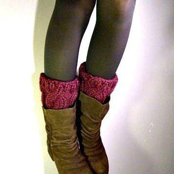 Boot Cuffs cable knit boot covers Plum by KittyDune on Etsy
