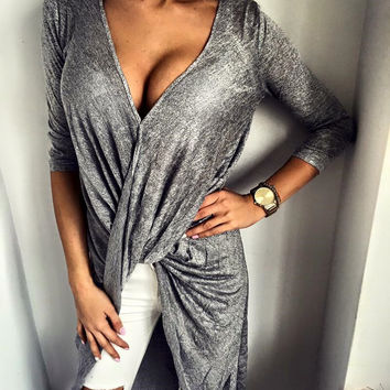 Hot Sale Women's Fashion Sexy V-neck Irregular One Piece Dress [6325944449]