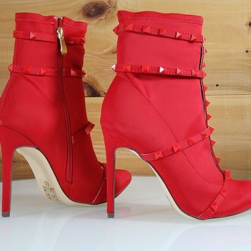 0360fc34c993 So Me Billie Red Pointy Toe High Heel Ankle Boot Cage Studded Straps
