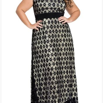 Streetstyle  Casual Gorgeous Hollow Out Lace Round Neck Plus Size Maxi Dress
