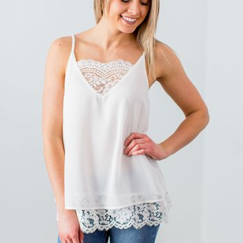 Like A Dream Lace Tank- Off White